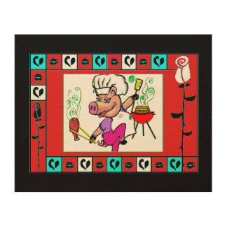 bbq pig in chef hat wood wall art