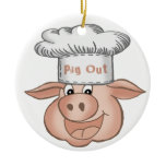 BBQ Pig Out Ceramic Ornament