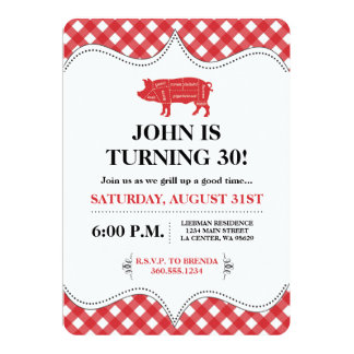 BBQ Pig Party Card