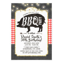 BBQ Pig Roast Birthday Party Vintage Chalkboard Invitation
