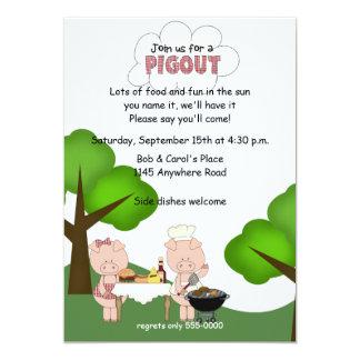 """BBQ Pigout Invitation 5"""" X 7"""" Invitation Card"""