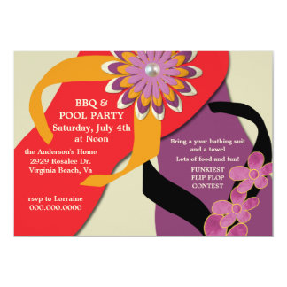BBQ & Pool Party Flip Flop Invitation-honey 5x7 Paper Invitation Card
