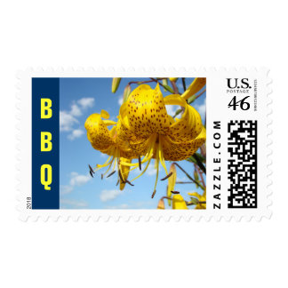 BBQ postage stamps Summer Barbeque Event Lilies