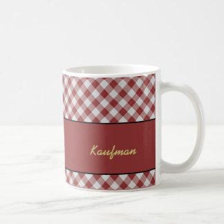 BBQ Red and White Checkered Classic White Coffee Mug