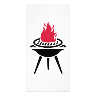 BBQ red fire flame Photo Card