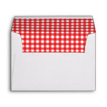 BBQ Red Gingham Birthday Party Invitation Envelope