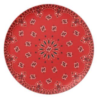 BBQ Red Paisley Western Bandana Scarf Fabric Plate
