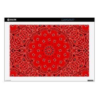 "BBQ Red Paisley Western Bandana Scarf Print 17"" Laptop Skin"