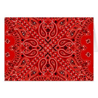 BBQ Red Paisley Western Bandana Scarf Print Card
