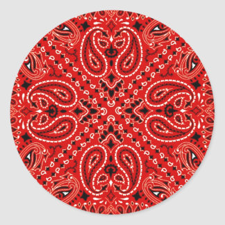 BBQ Red Paisley Western Bandana Scarf Print Classic Round Sticker