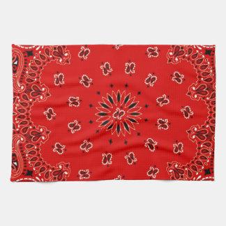 BBQ Red Paisley Western Bandana Scarf Print Hand Towels