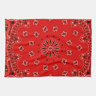 BBQ Red Paisley Western Bandana Scarf Print Kitchen Towel