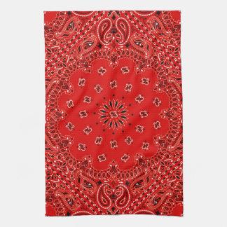 BBQ Red Paisley Western Bandana Scarf Print Towel