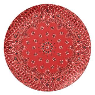 BBQ Red Paisley Western Bandana Scarf Print Melamine Plate