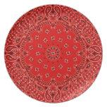 BBQ Red Paisley Western Bandana Scarf Print Plate