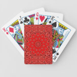 BBQ Red Paisley Western Bandana Scarf Print Bicycle Playing Cards