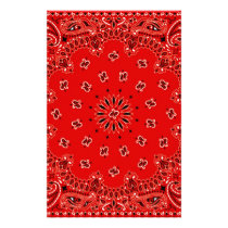 BBQ Red Paisley Western Bandana Scarf Print Stationery