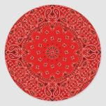 BBQ Red Paisley Western Bandana Scarf Print Stickers