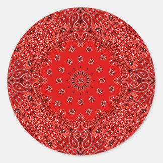 BBQ Red Paisley Western Bandana Scarf Print Classic Round Sticker