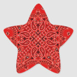 BBQ Red Paisley Western Bandana Scarf Print Star Stickers