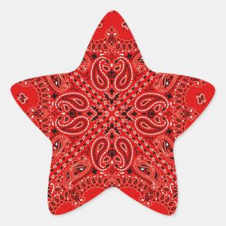 BBQ Red Paisley Western Bandana Scarf Print Star Sticker
