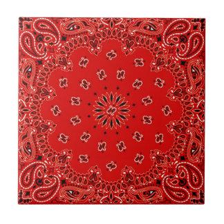 BBQ Red Paisley Western Bandana Scarf Print Tile