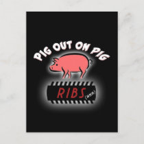 BBQ Ribs party invite postcard