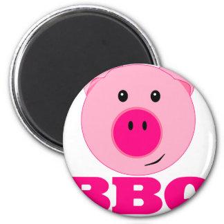 Bbq rosado lindo del cerdo imán redondo 5 cm