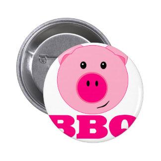 Bbq rosado lindo del cerdo pin redondo 5 cm