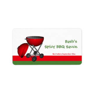 BBQ Sauce Jar Label Custom Address Label