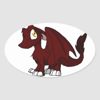 BBQ Sauce SD Furry Dragon Oval Sticker