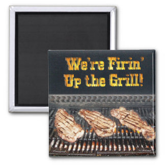 BBQ Steaks on the Grill Fridge Magnets