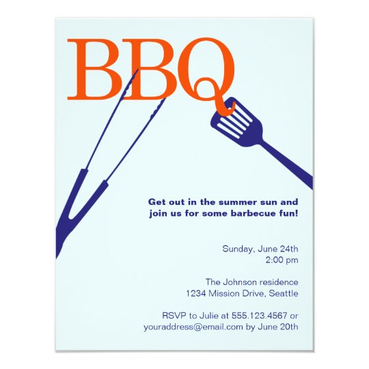 BBQ summer barbecue cool tool blue cookout custom Card