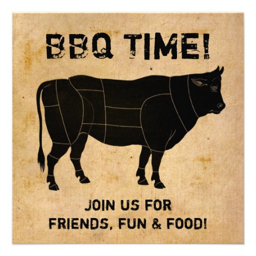 BBQ Time! (distressed paper background) Custom Invites