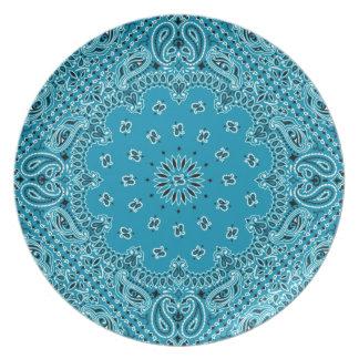 BBQ Turquoise Paisley Western Bandana Scarf Fabric Dinner Plate