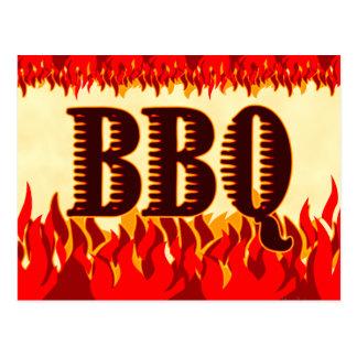 BBQ Western Flames Custom Invitation Postcard