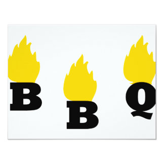 BBQ with flames icon Personalized Invitations