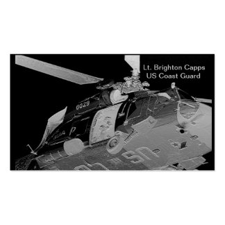 BC Coast Guard Helicopter Rescue in Silver Double-Sided Standard Business Cards (Pack Of 100)