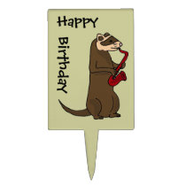 BC- Ferret Playing Saxophone Birthday Cake Topper