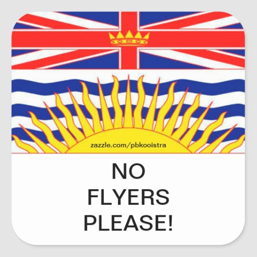 BC Flag No Flyers Please Mail Box Stickers