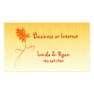 BC Flower on Gold and White stripe design Business Card Template