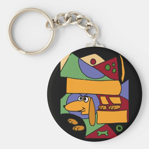 BC- Funny Abstract Art Dachshund Key Chains