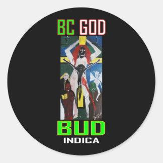 BC GOD BUD INDICA ROUND STICKERS