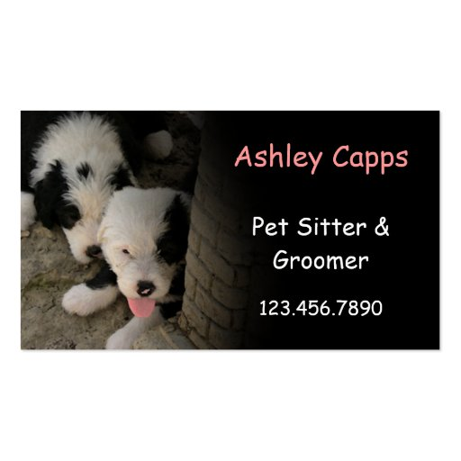 "BC ""In the Shade"" - Old English Sheepdog puppies Business Card"