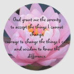 BC- Serenity Prayer Pink Water Lily Stickers