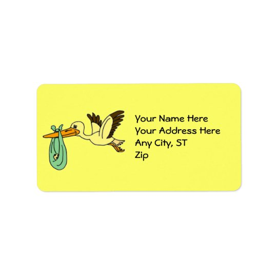 BC- Stork Cartoon Baby Address Labels