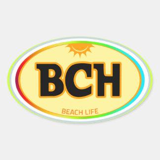 BCH - vida de la playa Pegatinas Óvales