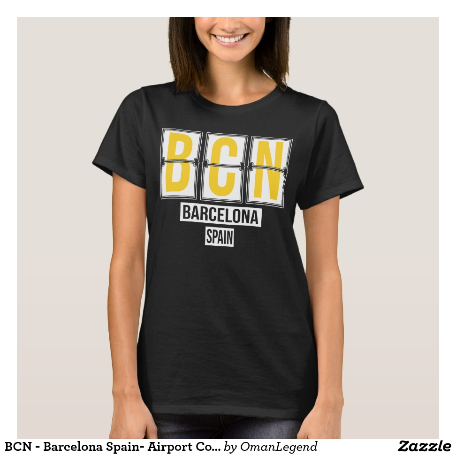 BCN - Barcelona Spain- Airport Code T-Shirt - Best Selling Long-Sleeve Street Fashion Shirt Designs