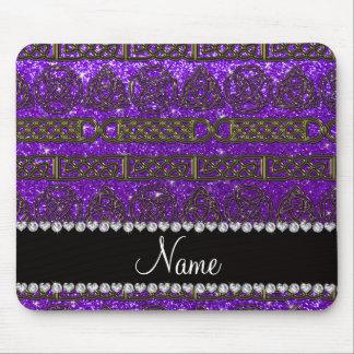 BCustom name gold celtic indigo purple glitter Mouse Pad