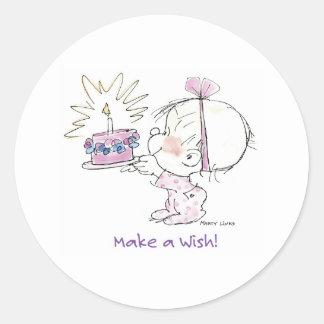 BD-002 Birthday Wish Classic Round Sticker